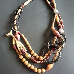 COPY - Wooden Necklace with Giraffe & Bead Accents
